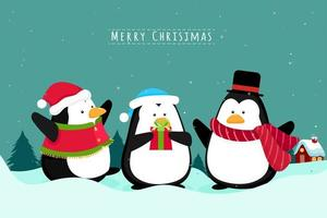 Penguins Christmas scene