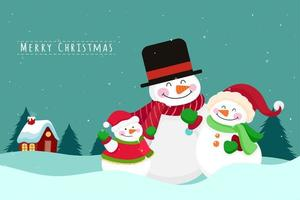 Christmas Greeting Card with Snowmen Family