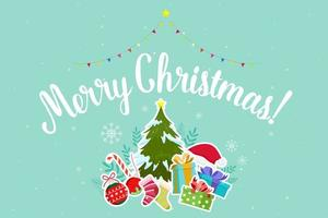 Merry Christmas greeting with Christmas elements  vector