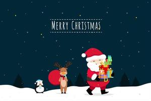 Christmas Greeting Card with Christmas Santa Claus and reindeer
