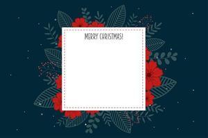Cartel feliz navidad con marco blanco