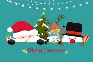 Christmas Greeting Card with Santa Friends