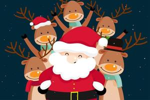 Christmas Greeting Card with Santa Claus and reindeer vector