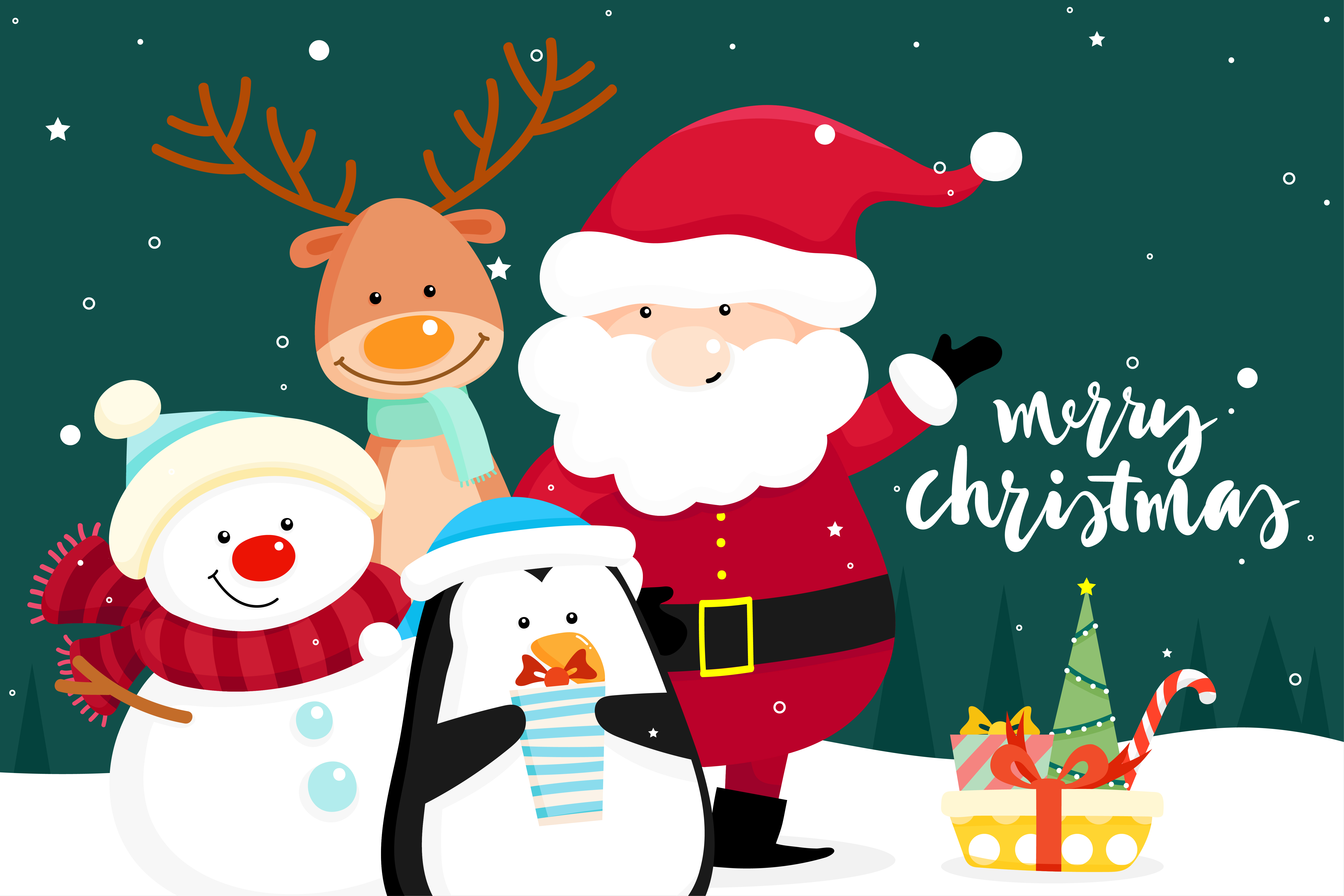 christmas greeting card with christmas santa claus snowman and penguin download free vectors clipart graphics vector art vecteezy