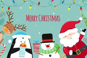 Christmas Greeting Card with Christmas Santa Claus, snowman and reindeer