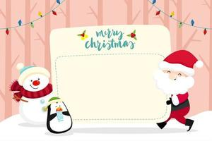 Christmas Greeting Card with Santa Claus  and Snowman