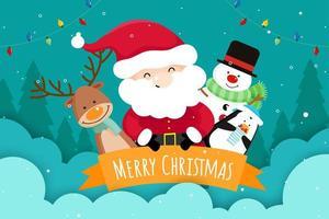 Tarjeta de felicitación de navidad con santa