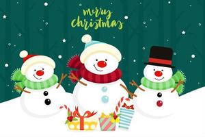 Christmas Greeting Card with Snowmen