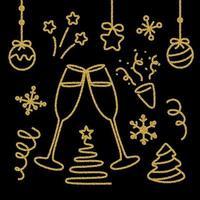 Set di elementi di Capodanno glitter oro