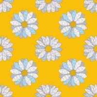 Chamomile Hand drawn vintage seamless pattern