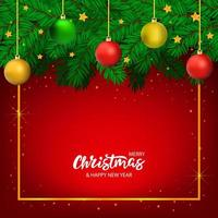 Hand drawn Christmas banner with lettering and tree  vector