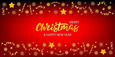 Kerst banner met letters en boom met sterren