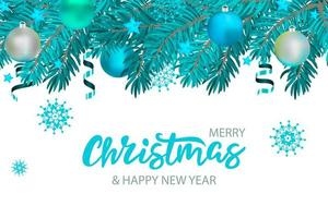 Christmas banner with lettering and tree with stars and ribbons