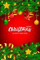 Christmas banner with lettering and tree