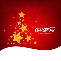 Banner de Navidad con letras y árbol de estrellas doradas vector