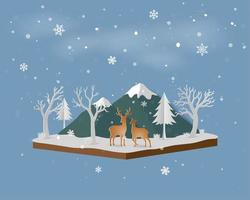 Isometric landscape with deer family in winter snow and mountain