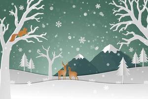 Rotwildfamilie mit Winterschnee im Waldzusammenfassungshintergrund