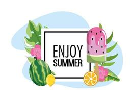 square emblem with watermelon ice lolly and leaves