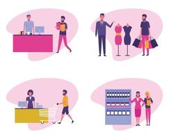 Set of People on supermarket vector