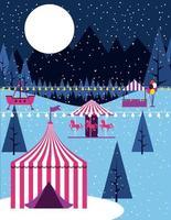 Winter circus carnival scene