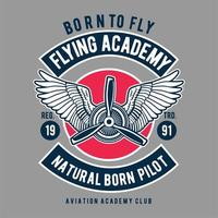 Flying academy natural born pilot emblem vector