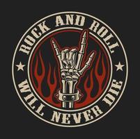 Vector logotyp med rock hand tecken i eld på den mörka bakgrunden.