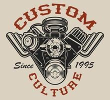 T-shirt design with a hot rod engine in vintage style