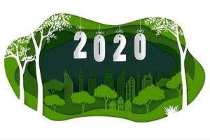 Happy new year 2020 on paper art green background vector