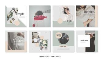 Minimalist social media template set vector