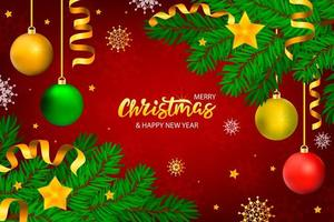 Red Christmas banner with lettering and tree with stars and ribbons vector