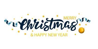 Banner de navidad con letras, adornos y estrellas vector