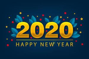 New Year 2020 banner with golden stars. Winter card. Season poster.