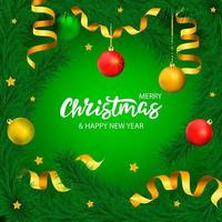 Green Christmas banner with lettering and tree with stars and ribbons