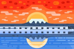 Autumn sunset and snow mountain landscape flat design. vector
