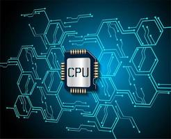Blue CPU cyber  vector