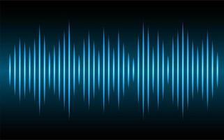 Sound waves oscillating dark blue light vector