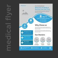 clean eye catching professional medical and healthcare flyer Template vector
