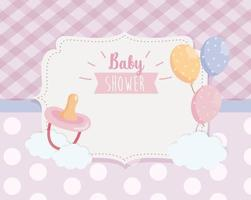 label of pacifier with balloons and ribbon decoration