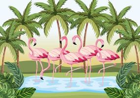 tropical flamingos animals with palms and leaves