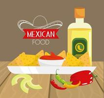 traditional mexican food with avocado and tequila vector