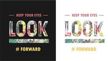 typography slogan with tropical forest background