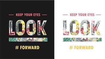 slogan de tipografia com fundo de floresta tropical vetor