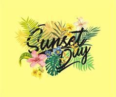 Puesta de sol día tropical hojas