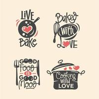 Set of cooking quotes label, typography and lettering vector