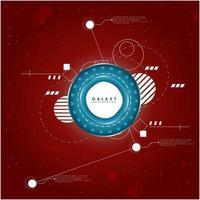 Fondo rojo y azul de tecnología y explorador espacial vector