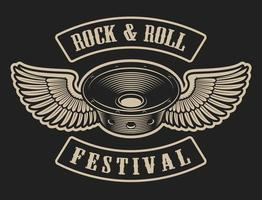 Haut-parleur Rock and Roll avec ailes vecteur