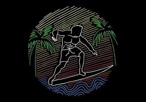 Illustration d'art de ligne vintage surf