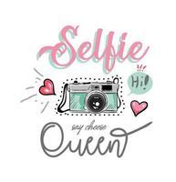 Selfie-queenslogan mit bunter Kamera- und Ikonenillustration
