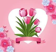 tarjeta de flores hermosas vector