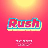 rush letter premium text effect with bold, 3d design and nice red theme